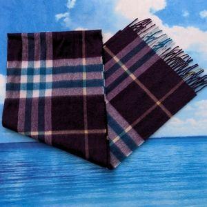 Burberry Classic Check Cashmere Scarf purple